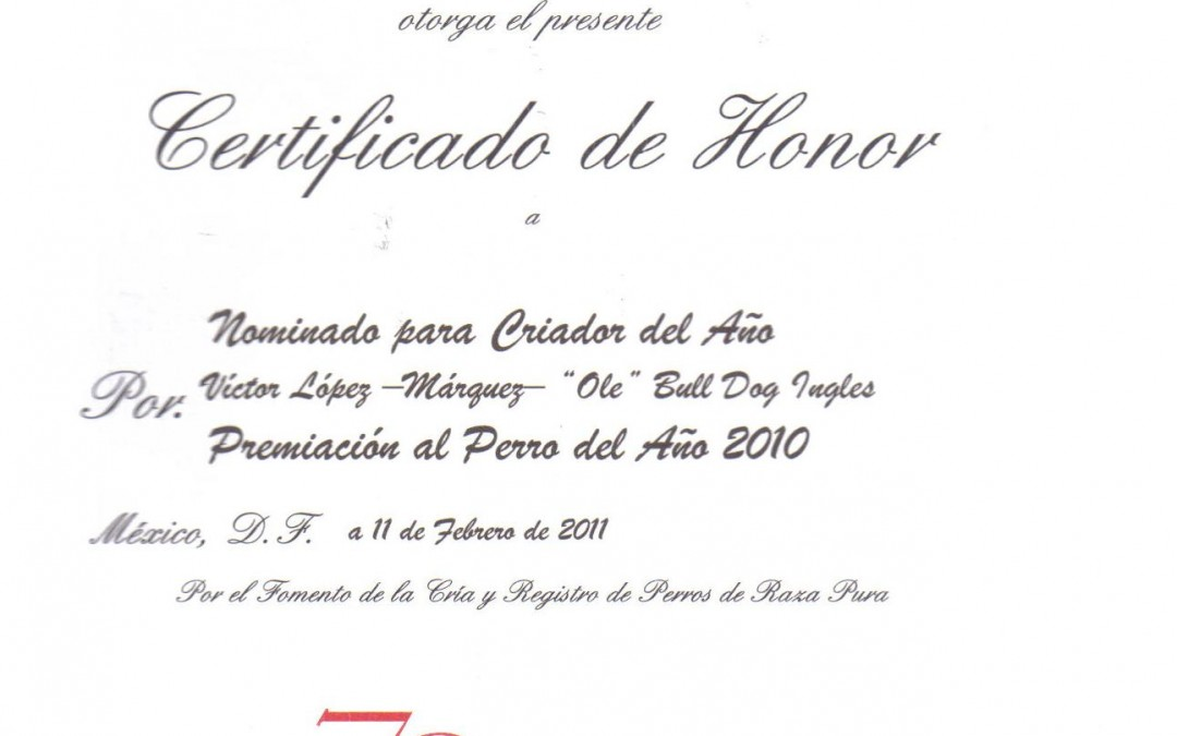 Certificado de honor de la FCM